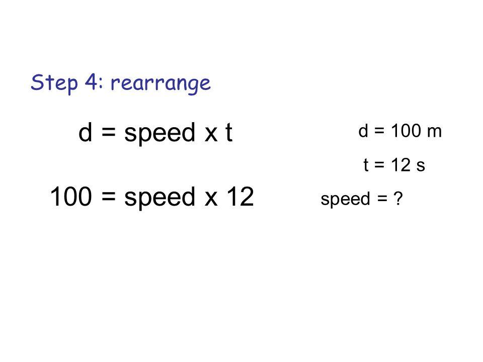 Step 4: rearrange d = speed x t 100 = speed x 12 d = 100 m t = 12 s speed = ?
