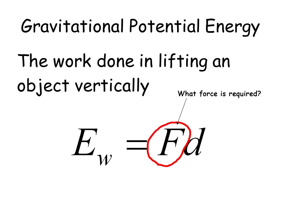 Gravitational Potential Energy The work done in lifting an object vertically What force is required?