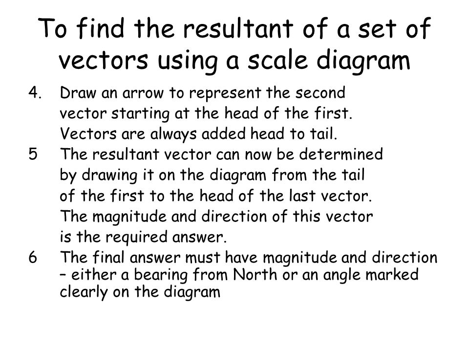 To find the resultant of a set of vectors using a scale diagram 4.Draw an arrow to represent the second vector starting at the head of the first. Vect