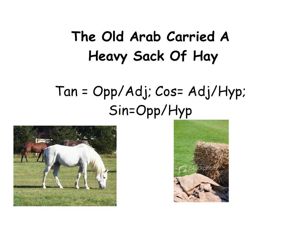 The Old Arab Carried A Heavy Sack Of Hay Tan = Opp/Adj; Cos= Adj/Hyp; Sin=Opp/Hyp