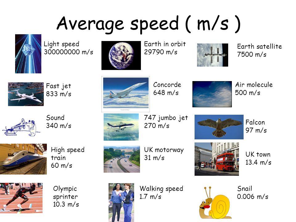 Average speed ( m/s ) Light speed 300000000 m/s Earth in orbit 29790 m/s Earth satellite 7500 m/s High speed train 60 m/s Concorde 648 m/s Fast jet 83