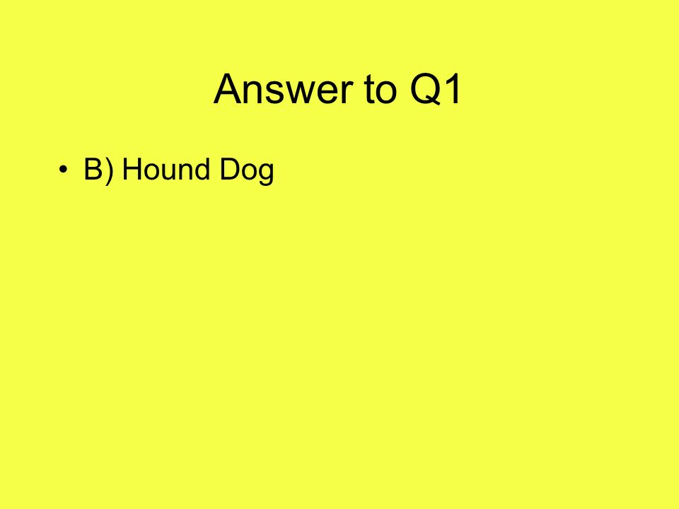 Answer to Q1 B) Hound Dog