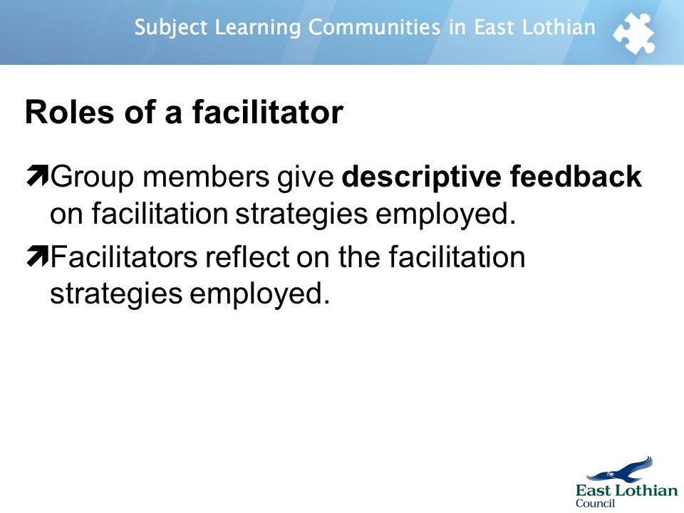 Roles of a facilitator Group members give descriptive feedback on facilitation strategies employed.