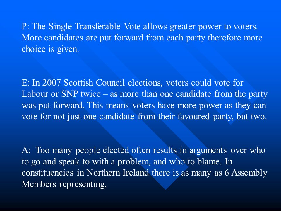 P: The Single Transferable Vote allows greater power to voters.
