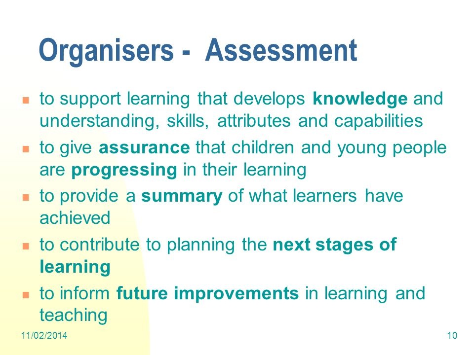 Organisers - Assessment to support learning that develops knowledge and understanding, skills, attributes and capabilities to give assurance that chil