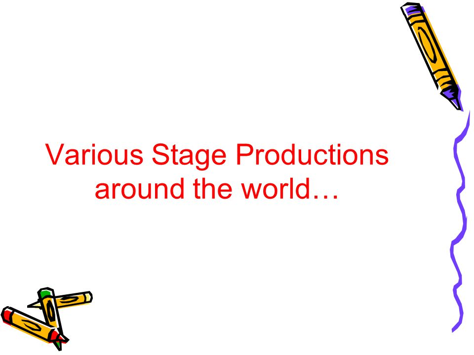 Various Stage Productions around the world…