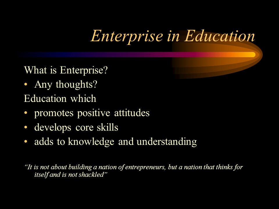 Enterprise in Education What is Enterprise.Any thoughts.