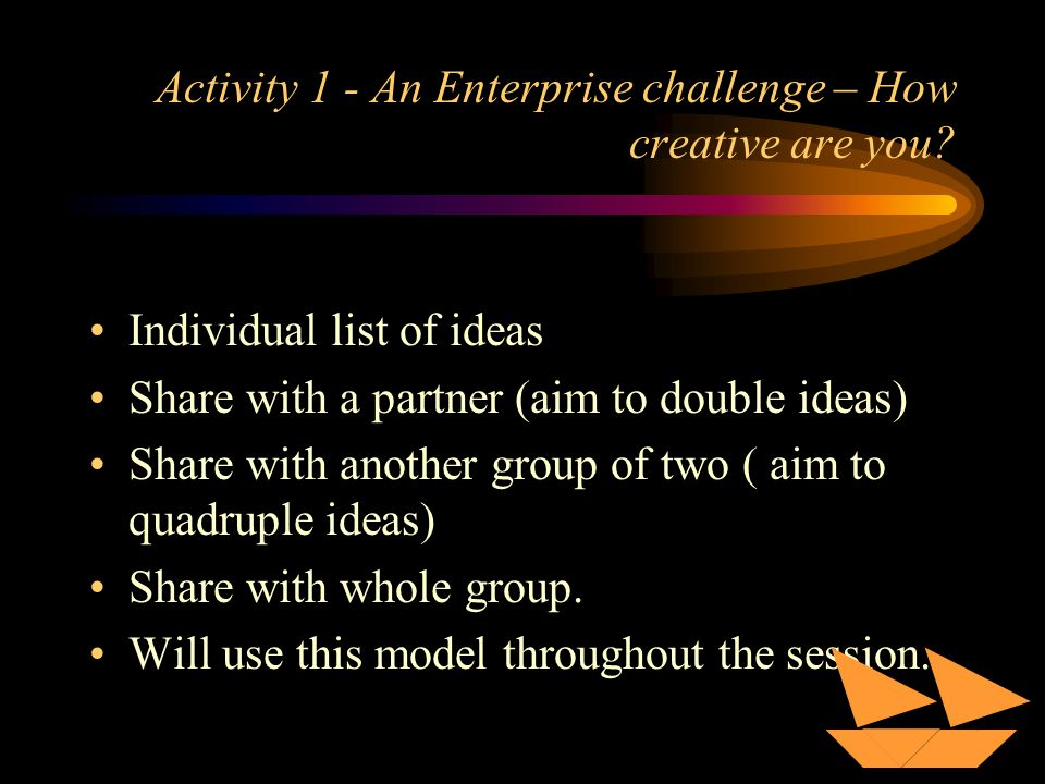 Activity 1 - An Enterprise challenge – How creative are you.