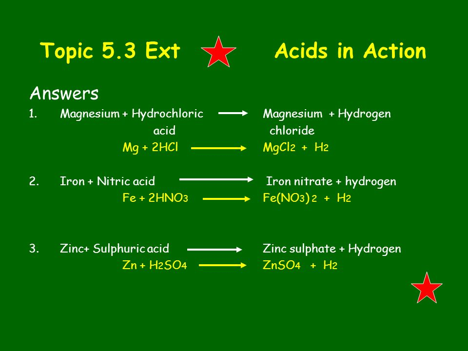 Topic 5.3 Ext Acids in Action Answers 1.Magnesium + Hydrochloric Magnesium + Hydrogen acid chloride Mg + 2HClMgCl 2 + H 2 2.Iron + Nitric acid Iron ni