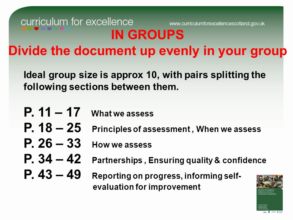 IN GROUPS Divide the document up evenly in your group Ideal group size is approx 10, with pairs splitting the following sections between them.