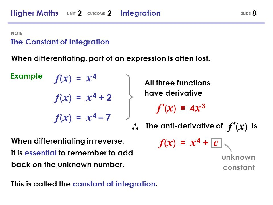 Higher Maths 2 2 Integration9 Basic Integration The result of integration is called an integral.