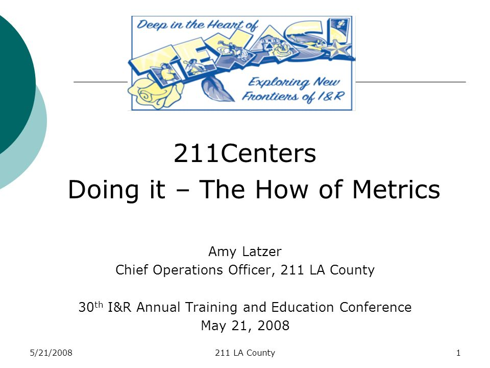 5/21/2008211 LA County1 211Centers Doing it – The How of Metrics Amy Latzer Chief Operations Officer, 211 LA County 30 th I&R Annual Training and Education Conference May 21, 2008