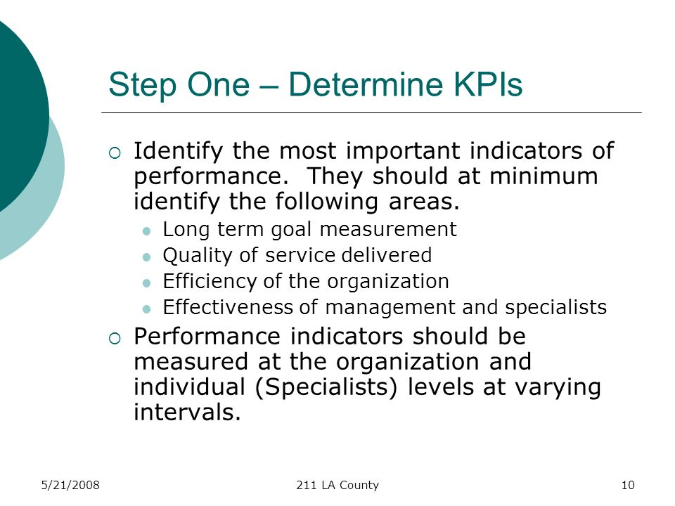 5/21/2008211 LA County10 Step One – Determine KPIs Identify the most important indicators of performance.