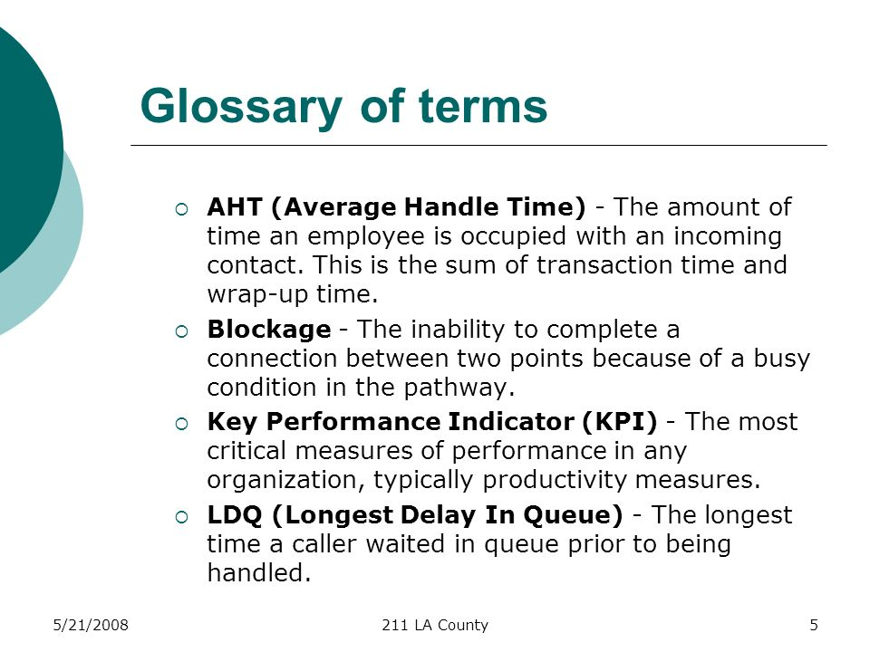 5/21/2008211 LA County5 Glossary of terms AHT (Average Handle Time) - The amount of time an employee is occupied with an incoming contact.
