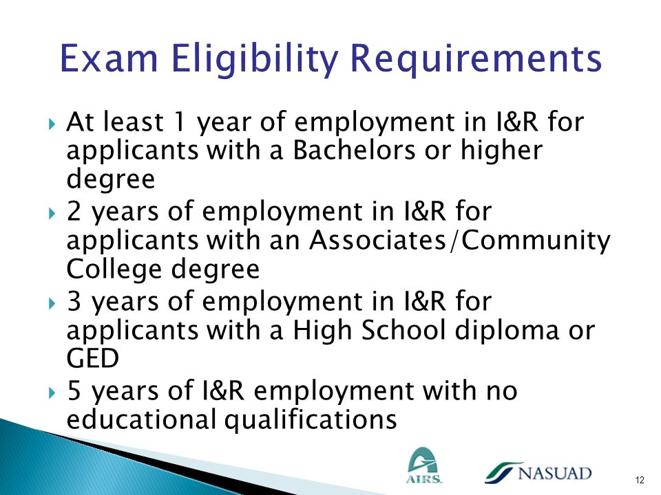At least 1 year of employment in I&R for applicants with a Bachelors or higher degree 2 years of employment in I&R for applicants with an Associates/C