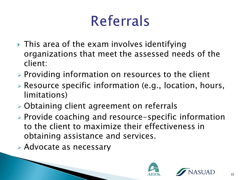 This area of the exam involves identifying organizations that meet the assessed needs of the client: Providing information on resources to the client