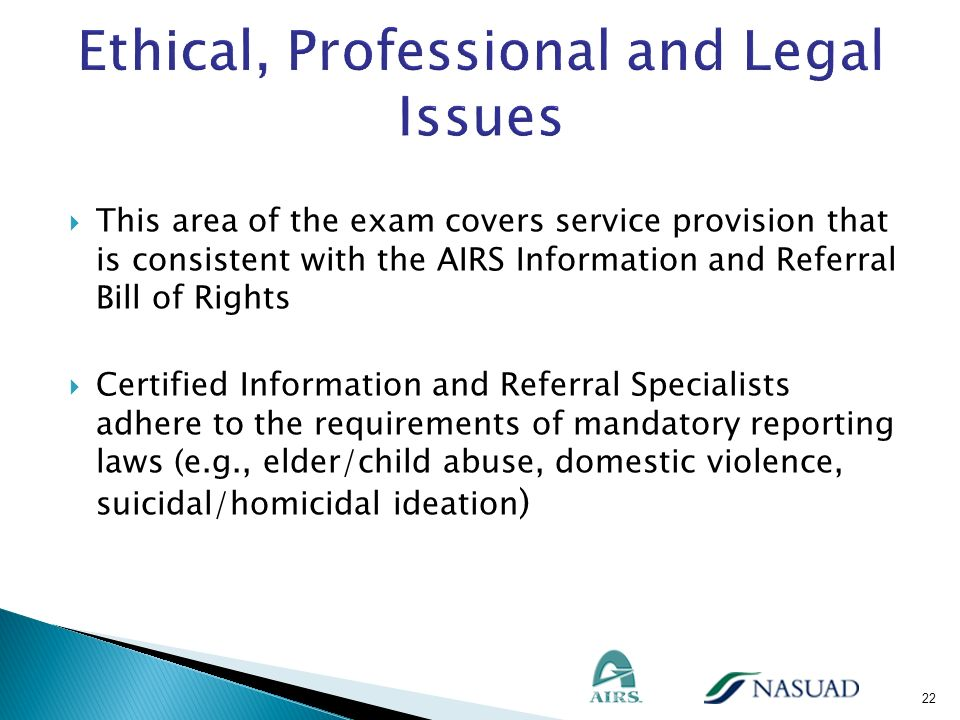 This area of the exam covers service provision that is consistent with the AIRS Information and Referral Bill of Rights Certified Information and Refe