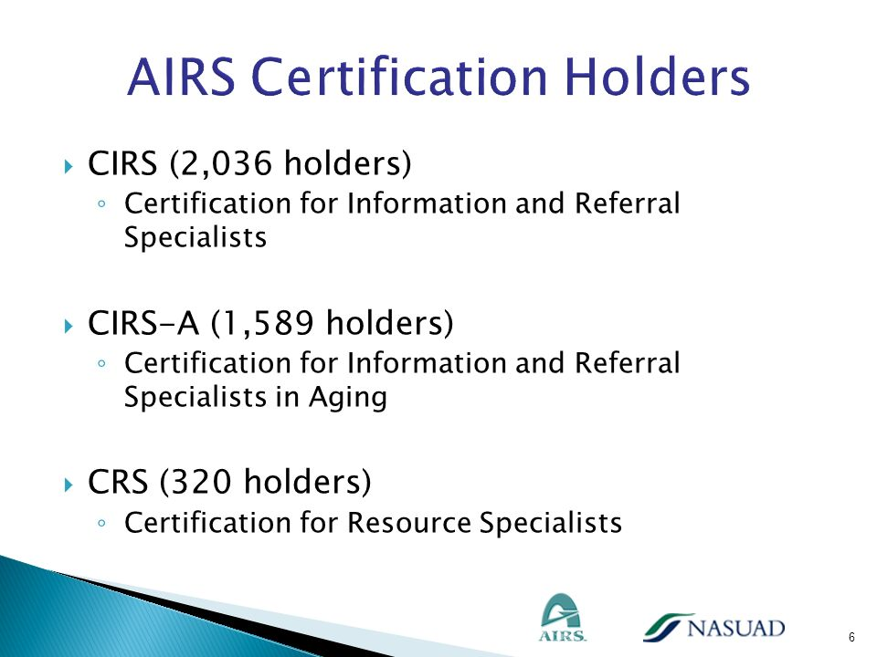 CIRS (2,036 holders) Certification for Information and Referral Specialists CIRS-A (1,589 holders) Certification for Information and Referral Speciali