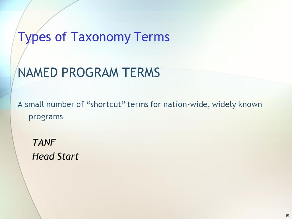 19 Types of Taxonomy Terms NAMED PROGRAM TERMS A small number of shortcut terms for nation-wide, widely known programs TANF Head Start