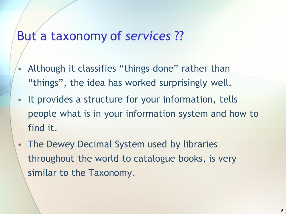 17 TYPES OF TAXONOMY TERMS Service terms Named program terms Facility terms Modality terms Target population terms Orientation/philosophy terms