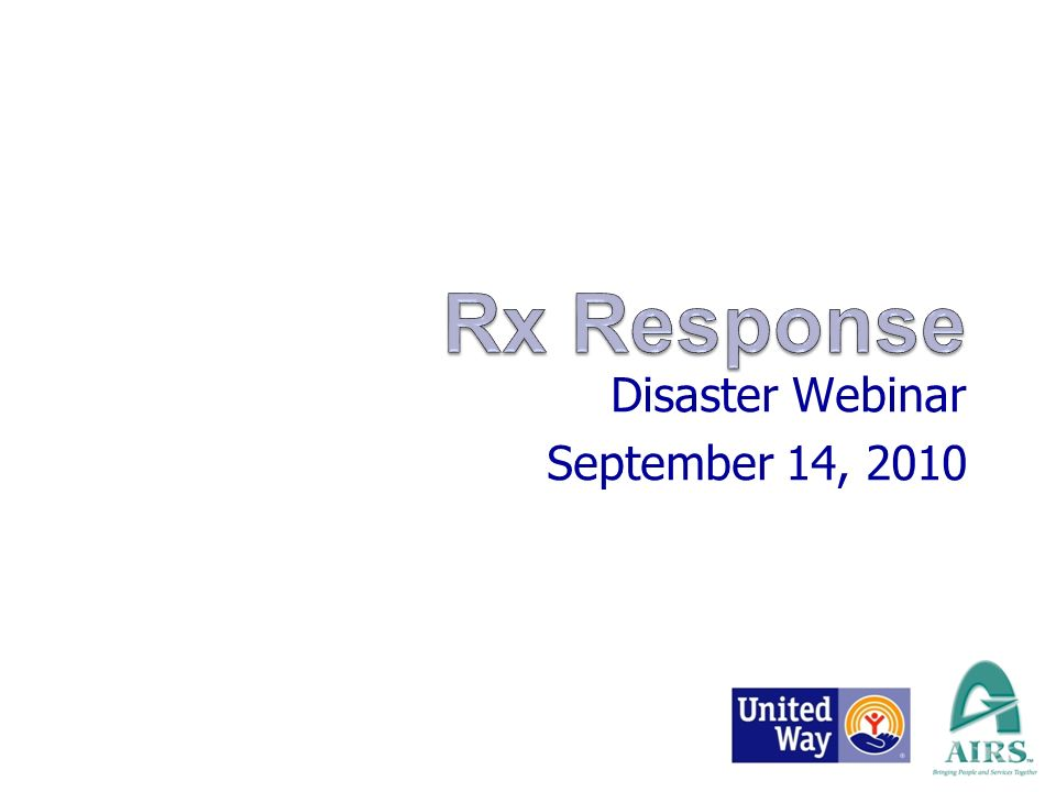 Disaster Webinar September 14, 2010 Presented By: Charlene Hipes COO, AIRS