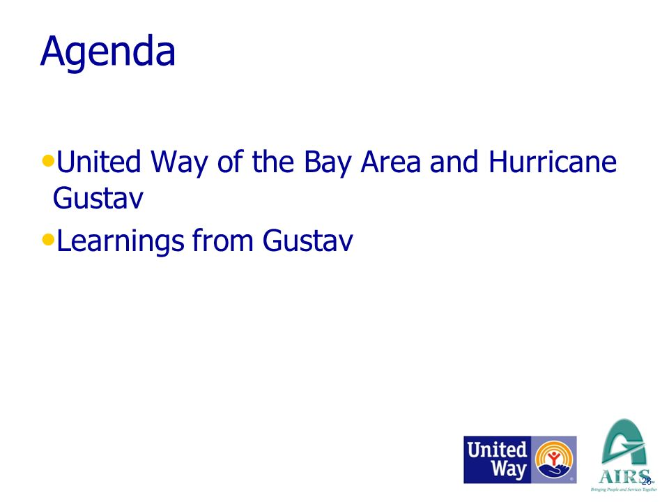 28 Agenda United Way of the Bay Area and Hurricane Gustav Learnings from Gustav