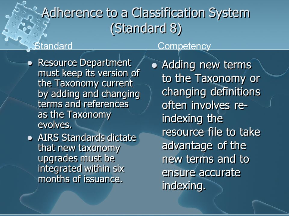 Adherence to a Classification System (Standard 8) Resource Department must keep its version of the Taxonomy current by adding and changing terms and references as the Taxonomy evolves.