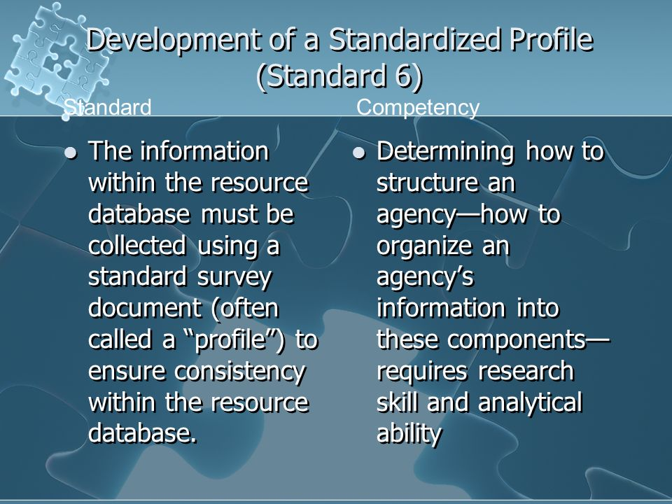 Development of a Standardized Profile (Standard 6) The information within the resource database must be collected using a standard survey document (of