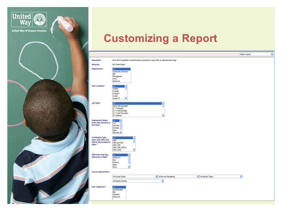 Customizing a Report