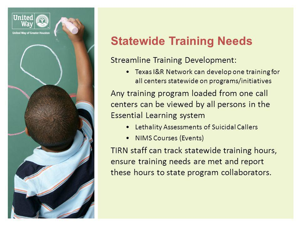 Statewide Training Needs Streamline Training Development: Texas I&R Network can develop one training for all centers statewide on programs/initiatives Any training program loaded from one call centers can be viewed by all persons in the Essential Learning system Lethality Assessments of Suicidal Callers NIMS Courses (Events) TIRN staff can track statewide training hours, ensure training needs are met and report these hours to state program collaborators.