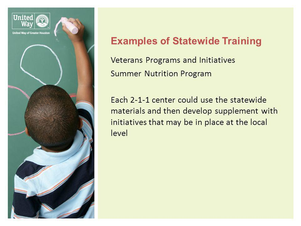 Examples of Statewide Training Veterans Programs and Initiatives Summer Nutrition Program Each 2-1-1 center could use the statewide materials and then develop supplement with initiatives that may be in place at the local level