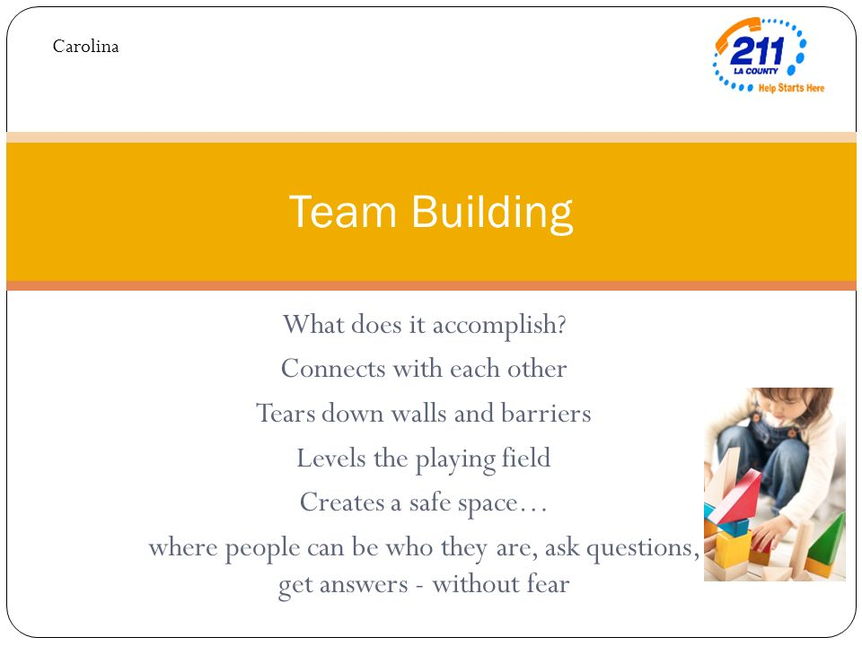 What does it accomplish? Connects with each other Tears down walls and barriers Levels the playing field Creates a safe space… where people can be who