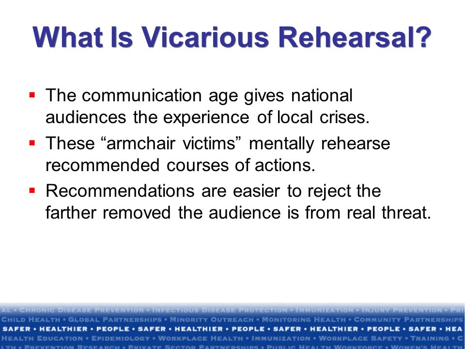 What Is Vicarious Rehearsal? The communication age gives national audiences the experience of local crises. These armchair victims mentally rehearse r