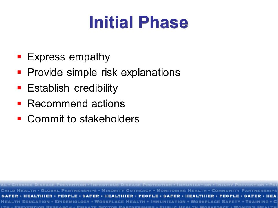 Initial Phase Express empathy Provide simple risk explanations Establish credibility Recommend actions Commit to stakeholders