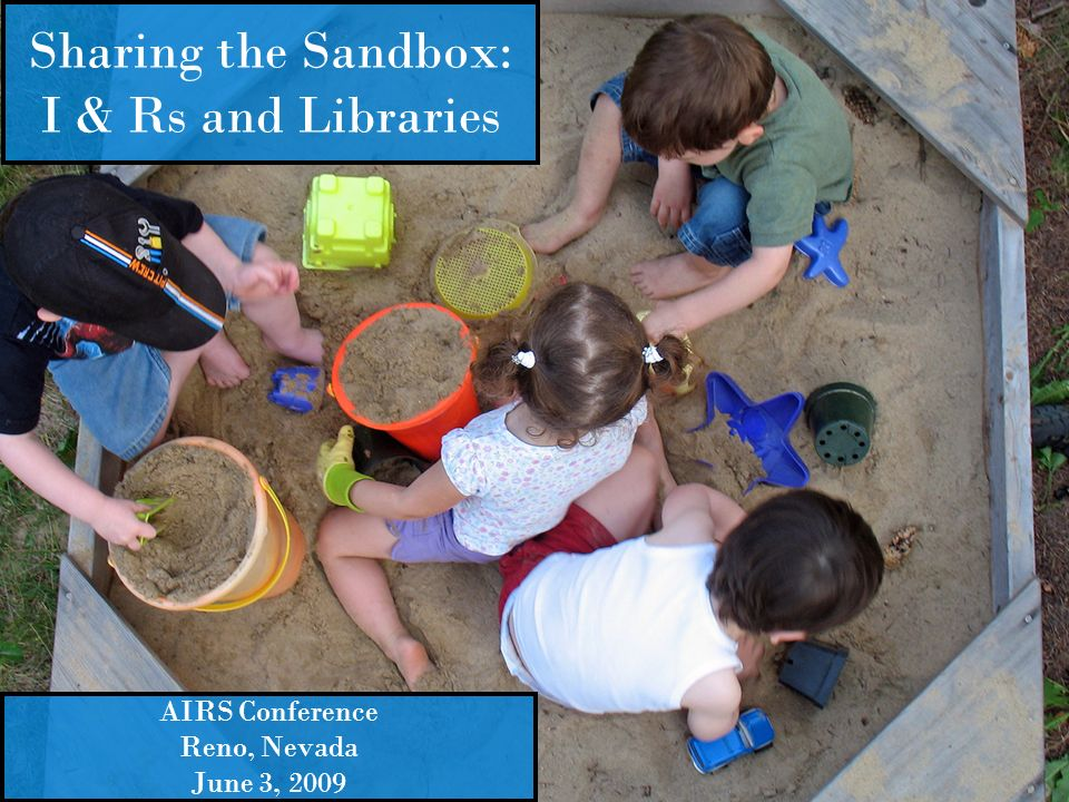 Sharing the Sandbox: I & Rs and Libraries AIRS Conference Reno, Nevada June 3, 2009