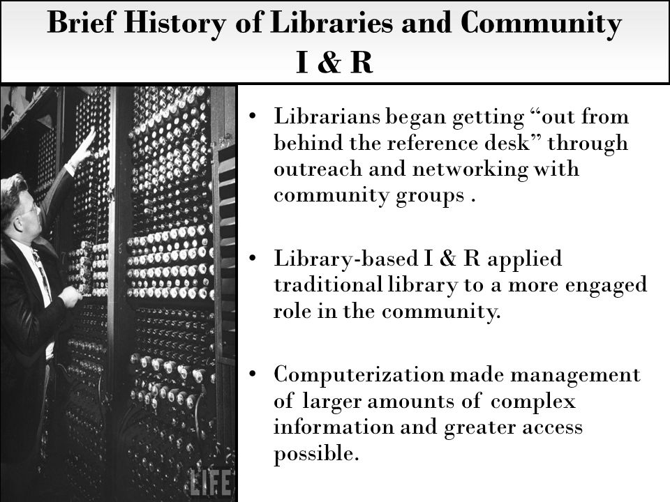 Librarians began getting out from behind the reference desk through outreach and networking with community groups.