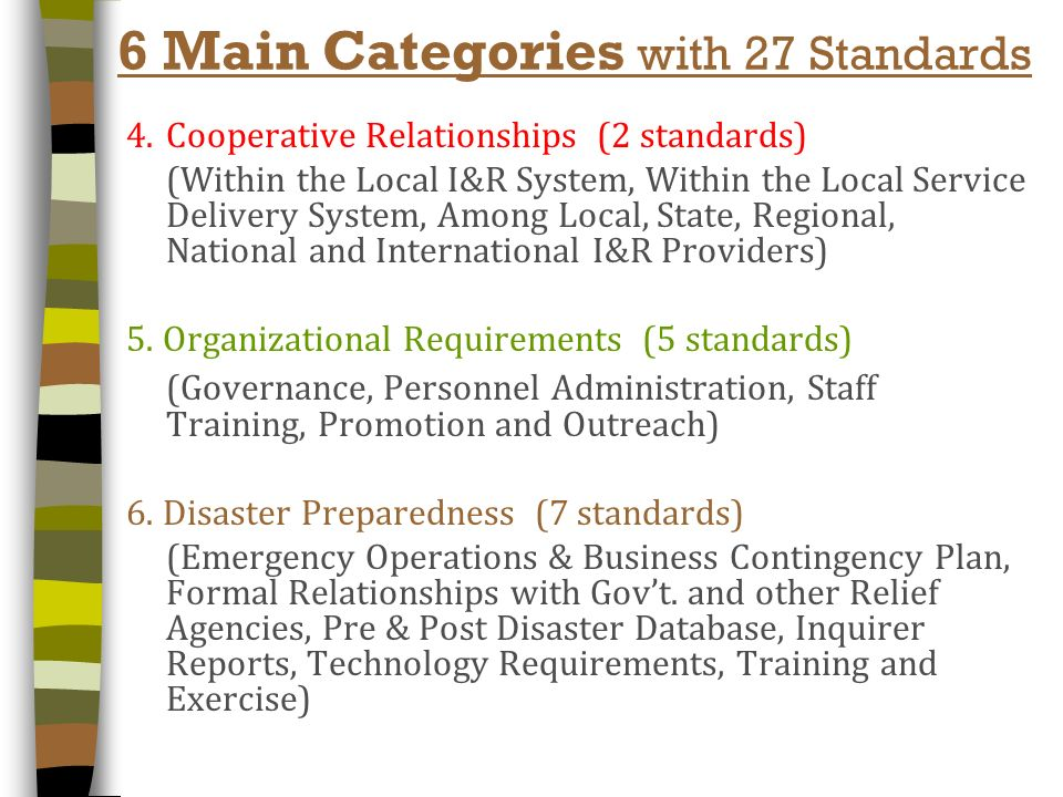 6 Main Categories- with 28 Standards 1. Service Delivery (6 standards) (Information, Referral, Advocacy/Intervention, Crisis & Follow-Up) 2. Resource