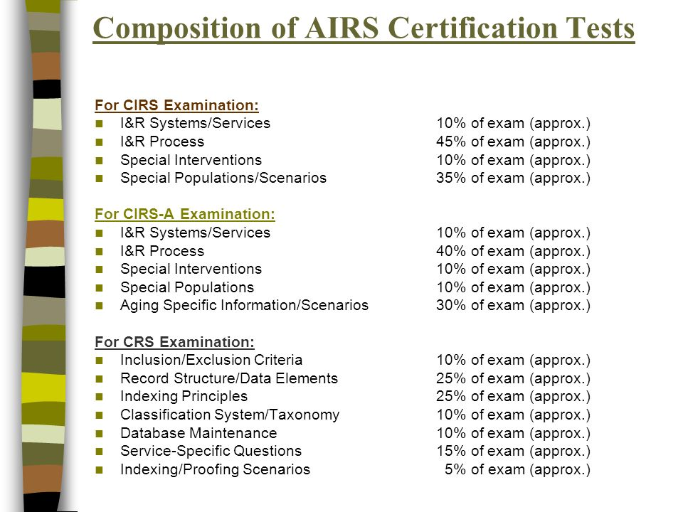 Composition of AIRS Certification Tests For CIRS Examination: I&R Systems/Services10% of exam (approx.) I&R Process45% of exam (approx.) Special Interventions10% of exam (approx.) Special Populations/Scenarios35% of exam (approx.) For CIRS-A Examination: I&R Systems/Services10% of exam (approx.) I&R Process40% of exam (approx.) Special Interventions10% of exam (approx.) Special Populations10% of exam (approx.) Aging Specific Information/Scenarios30% of exam (approx.) For CRS Examination: Inclusion/Exclusion Criteria10% of exam (approx.) Record Structure/Data Elements25% of exam (approx.) Indexing Principles25% of exam (approx.) Classification System/Taxonomy10% of exam (approx.) Database Maintenance10% of exam (approx.) Service-Specific Questions15% of exam (approx.) Indexing/Proofing Scenarios 5% of exam (approx.)