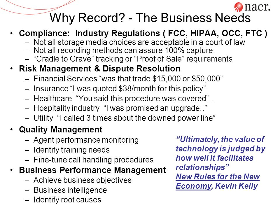 Call Recording Return on Investment Reduced Costs Monitoring Time Evaluation Time New Agent Training Repetitive Coaching Reduced Talk Times Reduced Agent Turnover Increased Productivity Improved Supervisor Performance Create Targeted Training Programs Create Better Trained Agents Improved Agent Consistency Improved Agent Performance & Morale Increased Revenue Improved Customer Retention Increased Upsell Opportunities Improved Time to Market for Products Reduced Risk Telesales Compliance Customer Claims He said, She said