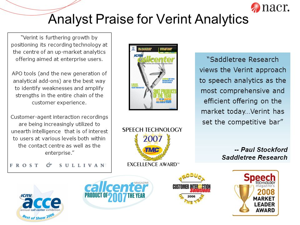 Verint is furthering growth by positioning its recording technology at the centre of an up-market analytics offering aimed at enterprise users. APO to