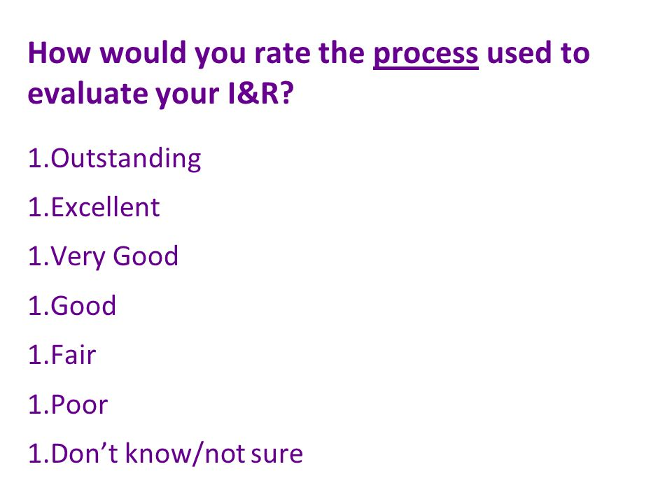 How would you rate the process used to evaluate your I&R.