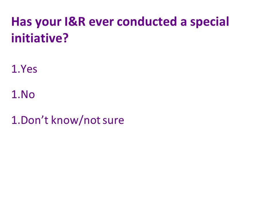 Has your I&R ever conducted a special initiative 1.Yes 1.No 1.Dont know/not sure