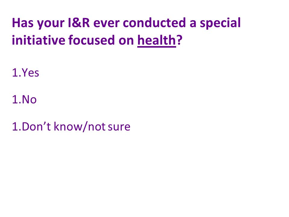 Has your I&R ever conducted a special initiative focused on health 1.Yes 1.No 1.Dont know/not sure