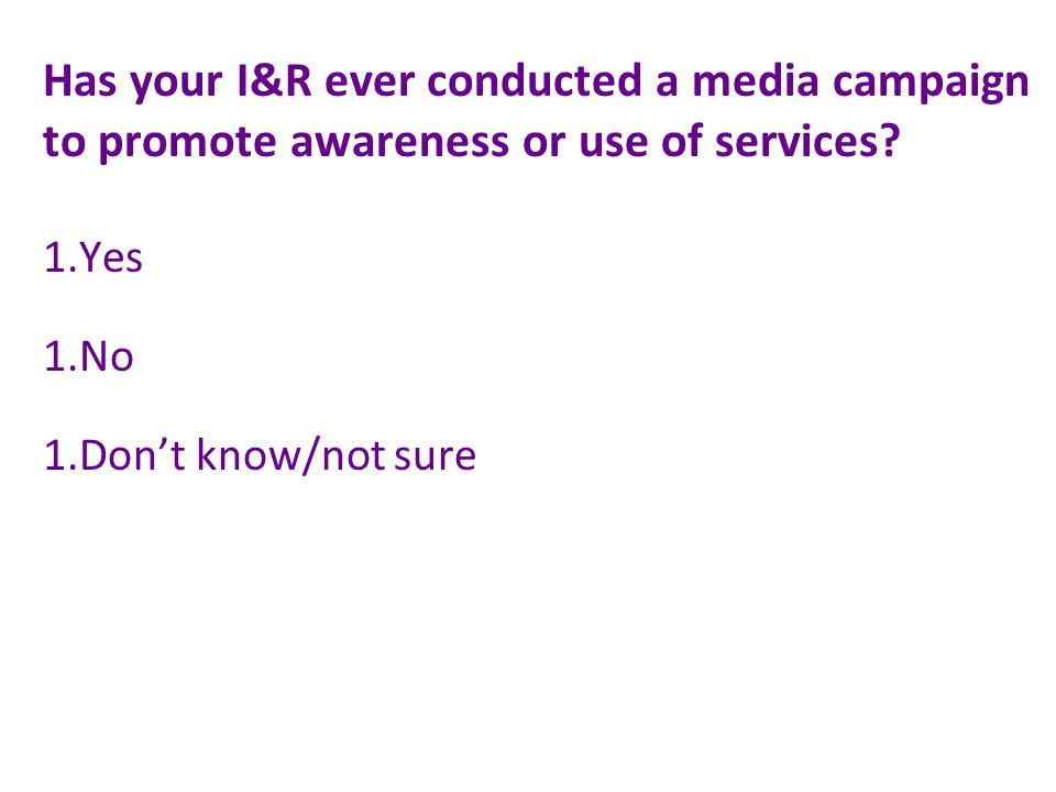 Has your I&R ever conducted a media campaign to promote awareness or use of services.
