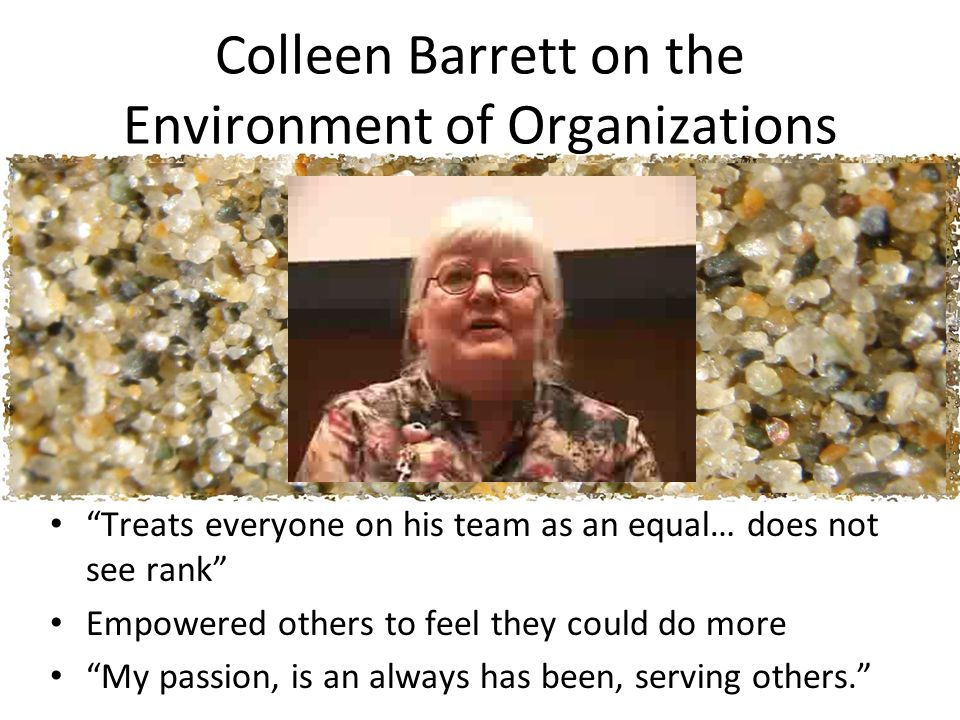 Colleen Barrett on the Environment of Organizations Treats everyone on his team as an equal… does not see rank Empowered others to feel they could do more My passion, is an always has been, serving others.