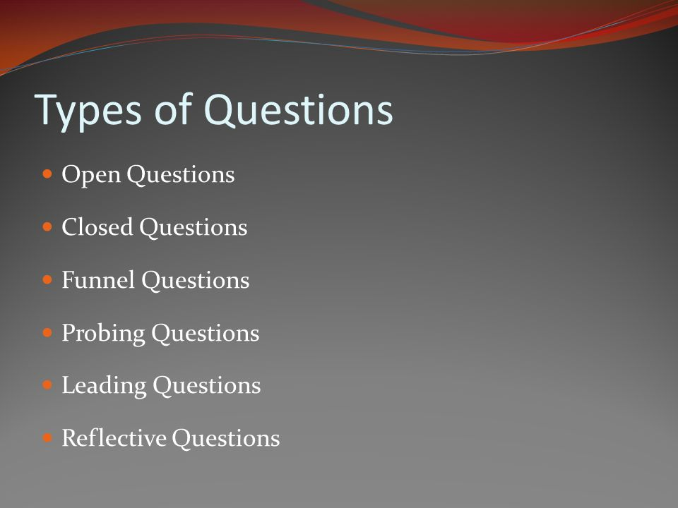 Types of Questions Open Questions Closed Questions Funnel Questions Probing Questions Leading Questions Reflective Questions