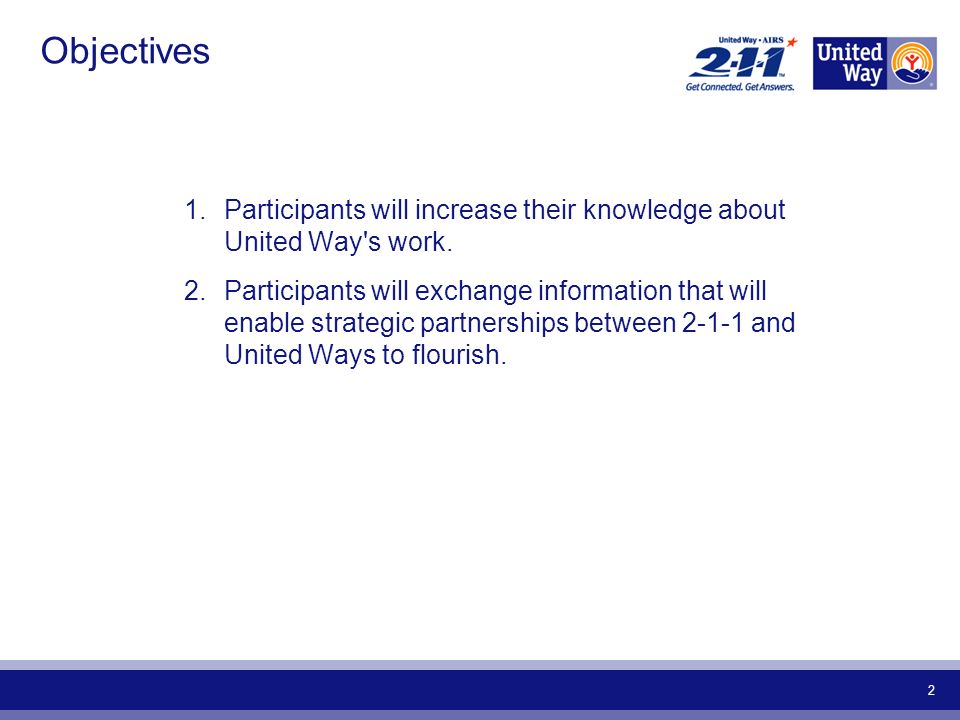 2 Objectives 1.Participants will increase their knowledge about United Way s work.