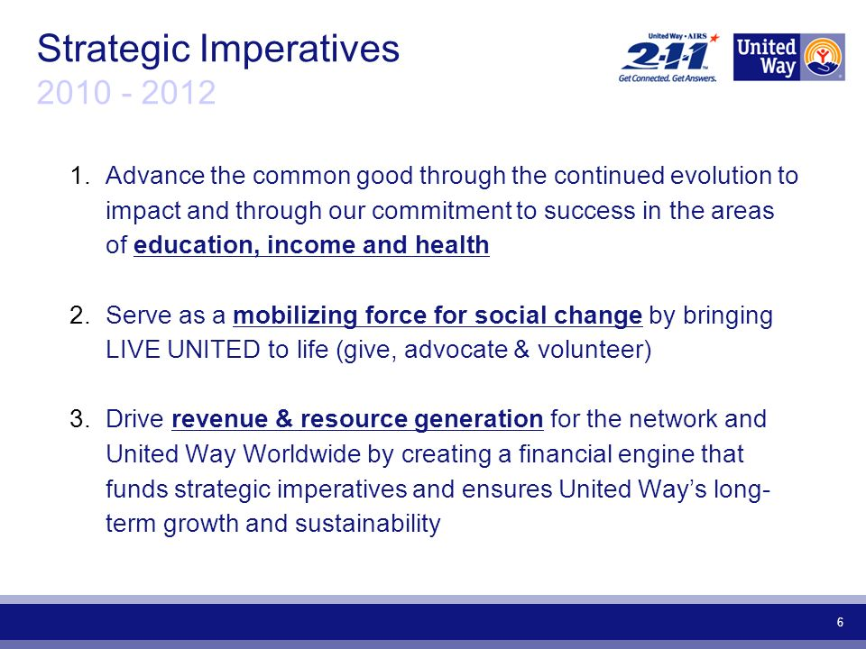 6 Strategic Imperatives Advance the common good through the continued evolution to impact and through our commitment to success in the areas of education, income and health 2.Serve as a mobilizing force for social change by bringing LIVE UNITED to life (give, advocate & volunteer) 3.Drive revenue & resource generation for the network and United Way Worldwide by creating a financial engine that funds strategic imperatives and ensures United Ways long- term growth and sustainability