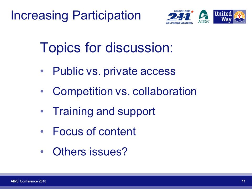 AIRS Conference 2010 11 Increasing Participation Topics for discussion: Public vs. private access Competition vs. collaboration Training and support F