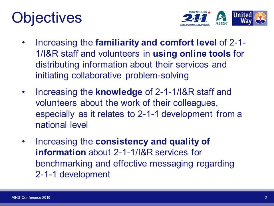 AIRS Conference 2010 2 Objectives Increasing the familiarity and comfort level of 2-1- 1/I&R staff and volunteers in using online tools for distributi